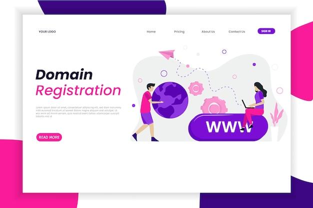 Modello di pagina di destinazione della registrazione del dominio con carattere Vettore Premium