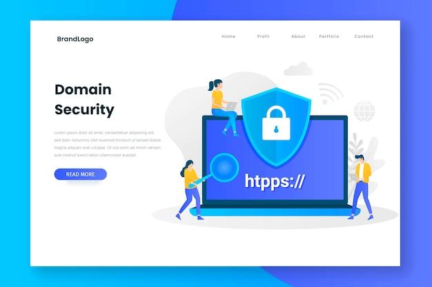 Pagina di destinazione della sicurezza del dominio Vettore Premium
