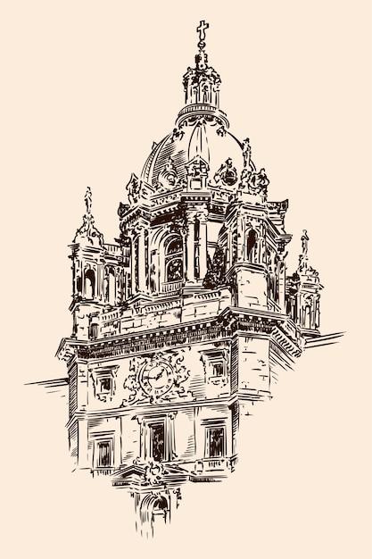 La cupola della cattedrale in stile classico con archi, statue e orologi. schizzo su uno sfondo beige. Vettore Premium