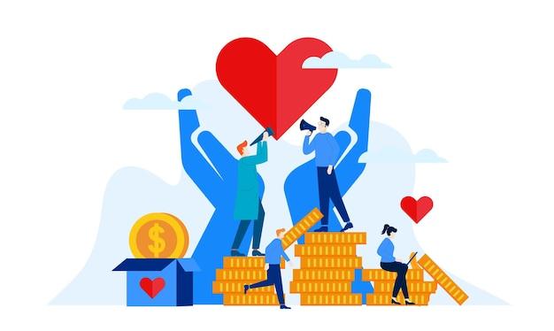 Donazione giorno di beneficenza con grande cuore e grandi mani illustrazione piatta design Vettore Premium