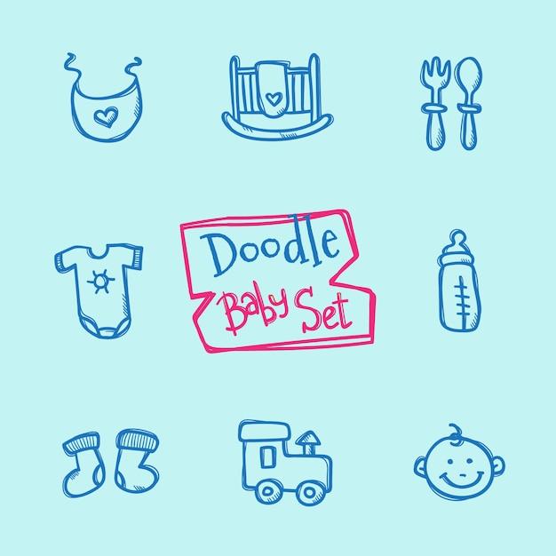Set di icone bambino doodle. collezione disegnata a mano carina di oggetti per bambini Vettore Premium