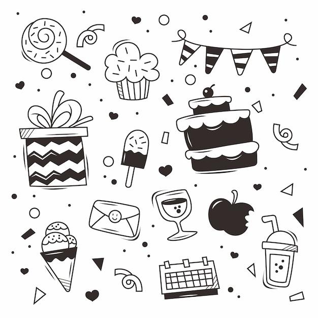 Doodle compleanno vettore Vettore Premium