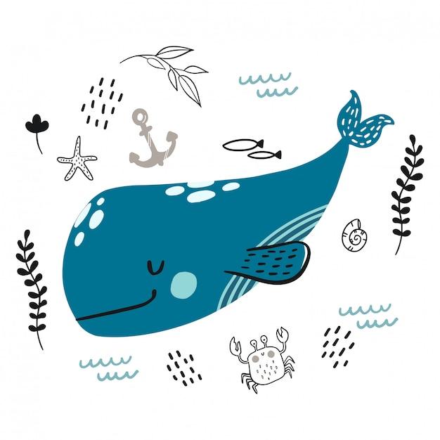 Doodle balena sorridente blu per infantile. Vettore Premium