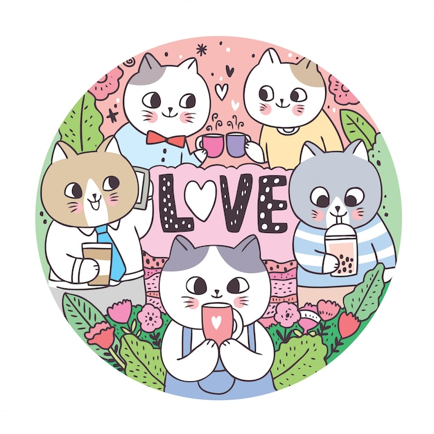 Scarabocchii i gatti svegli del fumetto e beva la struttura del cerchio del caffè Vettore Premium