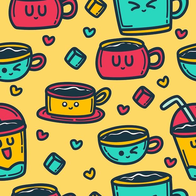 Doodle cartoon drink pattern Vettore Premium