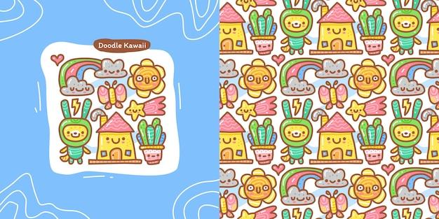 Insieme della raccolta di doodle dell'elemento casuale di kawaii e del modello senza cuciture Vettore Premium