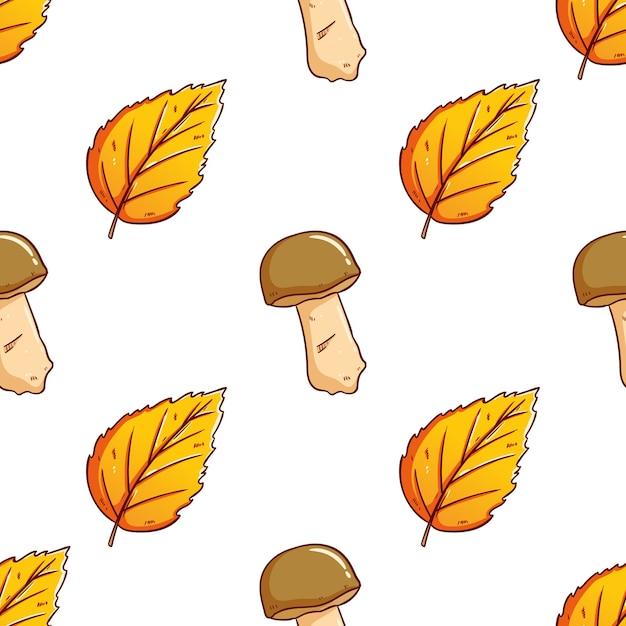 Scarabocchio carino foglie di autunno con il fondo senza cuciture del modello del fungo Vettore Premium