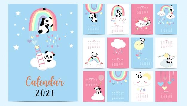 Doodle calendario pastello impostato 2021 con panda, arcobaleno, sole per i bambini.può essere utilizzato per la grafica stampabile Vettore Premium