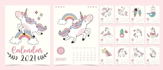 Calendario pastello doodle impostato 2021 con unicorno, arcobaleno