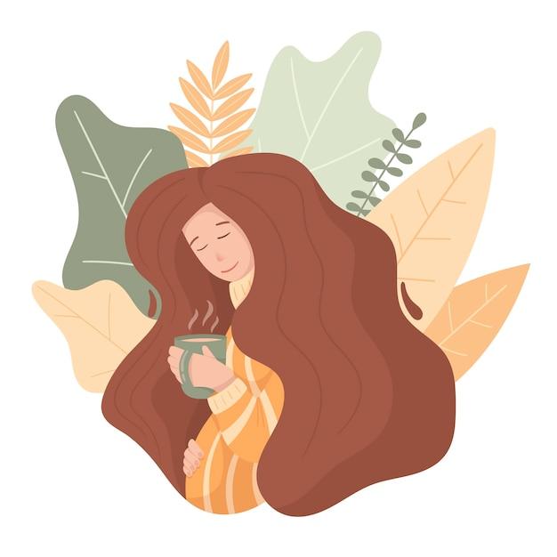 Doodle donna incinta con lunghi capelli voluminosi. tema invernale accogliente, tazza con tè o caffè, maglione caldo. Vettore Premium