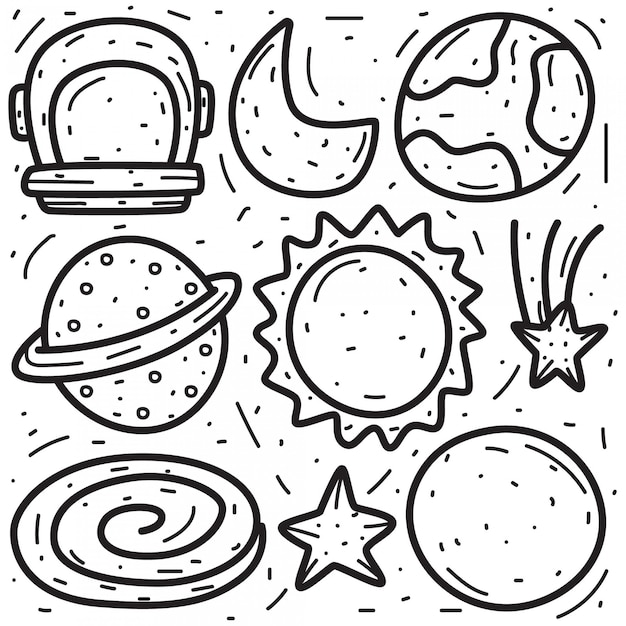 Doodle di vari disegni a mano planetari Vettore Premium