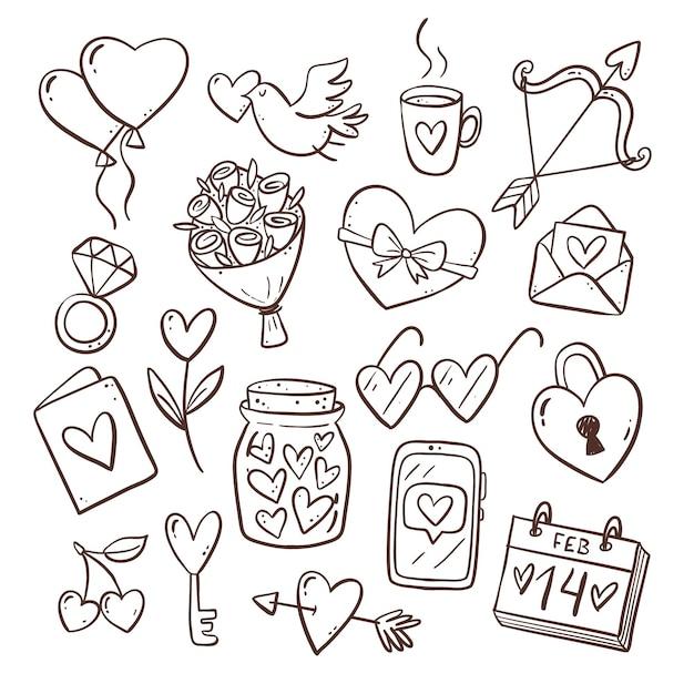 Collezione di elementi di san valentino doodle Vettore Premium
