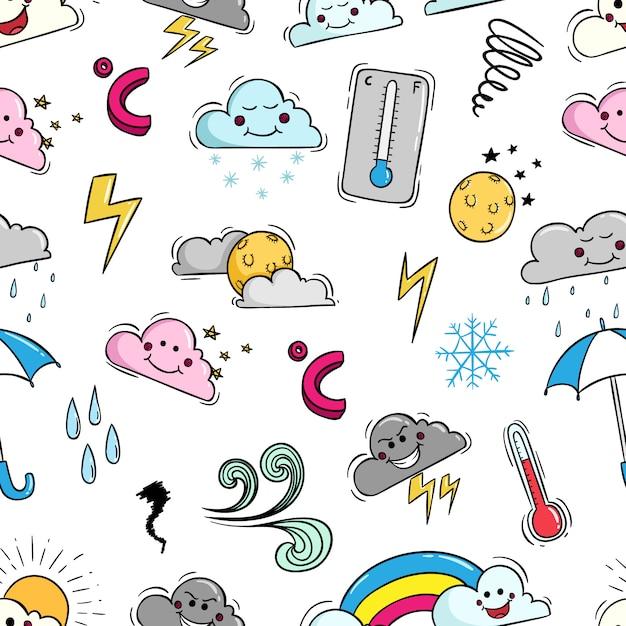 Elementi del tempo di doodle nel modello senza cuciture Vettore Premium