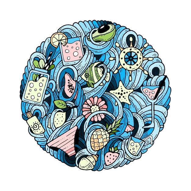 Doodles in un cerchio sul tema dell'estate. Vettore Premium
