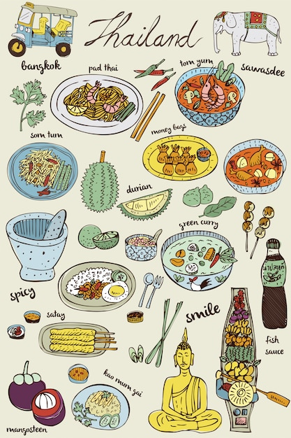 Doodles cibo tailandese e set di icone, vettore Vettore Premium