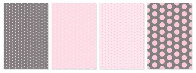 Set di schemi a punti. sfondo bambino. colore rosa. illustrazione. motivo a pois. Vettore Premium