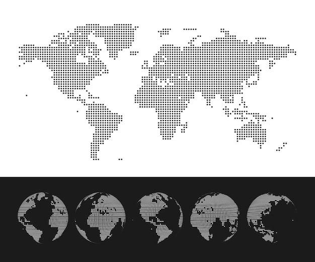 Set di mappamondo punteggiato e globo. illustrazione Vettore Premium