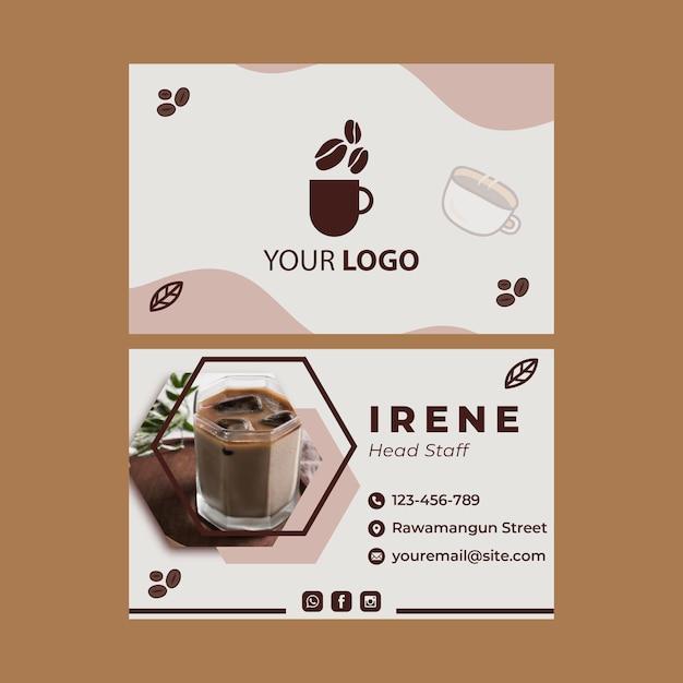 Modello di biglietto da visita orizzontale fronte-retro per caffetteria Vettore Premium