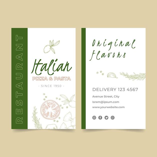 Biglietto da visita verticale bifacciale per ristorazione italiana Vettore Premium