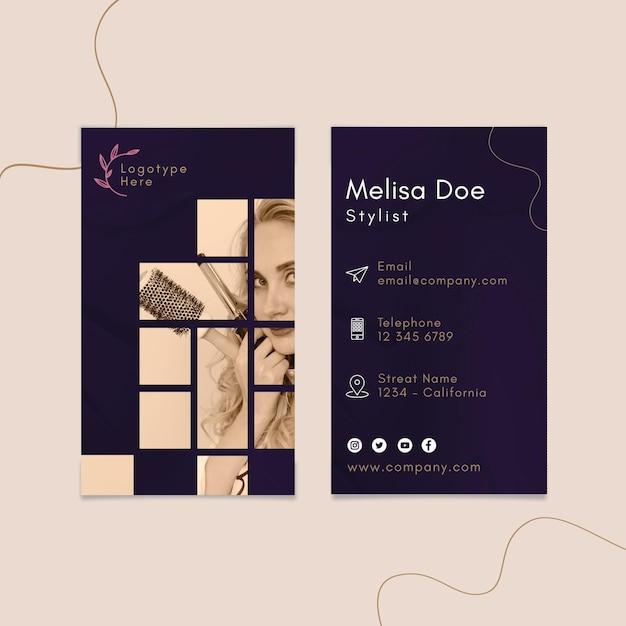 Modello di biglietto da visita verticale bifacciale per salone di bellezza Vettore Premium