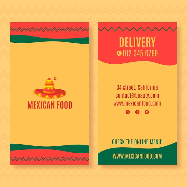 Modello di biglietto da visita verticale fronte-retro per ristorante di cucina messicana Vettore Premium