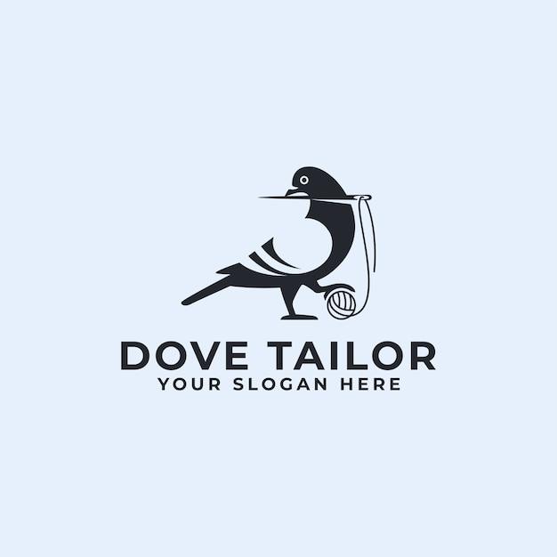 Logo su misura uccello colomba o piccione Vettore Premium