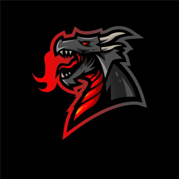 Illustrazione di progettazione di logo della mascotte di e-sport del drago Vettore Premium