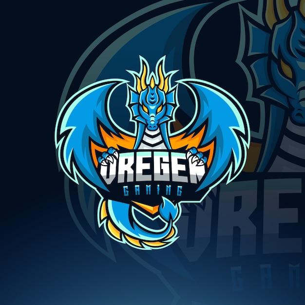 Modello di logo della mascotte di dragon esport Vettore Premium