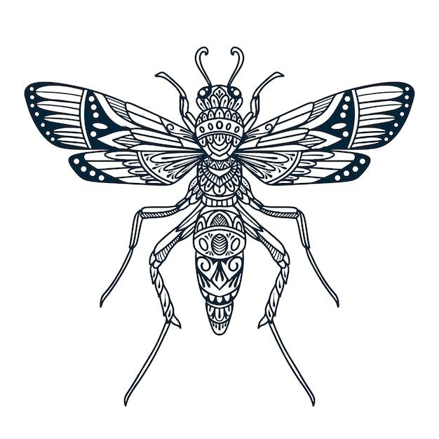 Illustrazione di doodle dello scarabeo della libellula Vettore Premium
