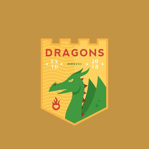 Draghi medeival sports team emblem abstract sign o logo template con scudo, mitologia rettile e tipografia retrò. Vettore Premium