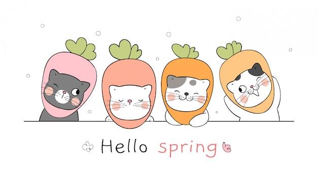 Disegna il gatto banner per la stagione primaverile. Vettore Premium