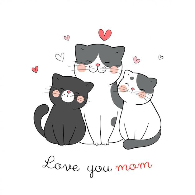Disegna mamma e bambino gatto con cuoricino su bianco per la festa della mamma. Vettore Premium