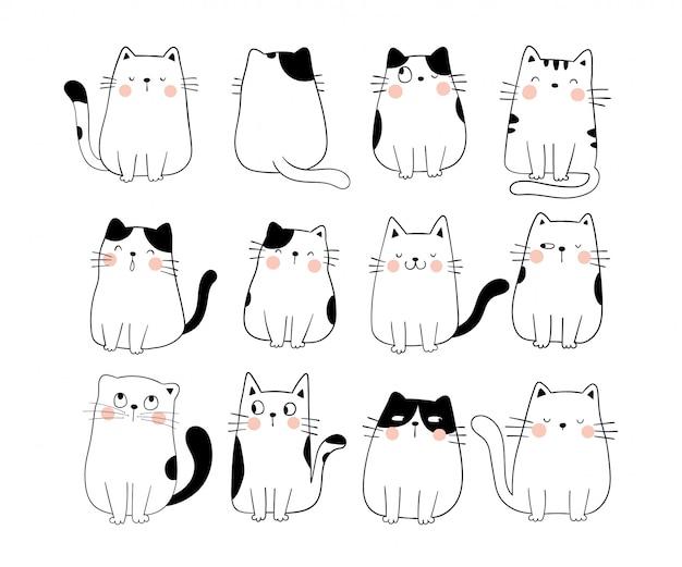 Disegna la raccolta divertente gatto doodle stile cartoon. Vettore Premium