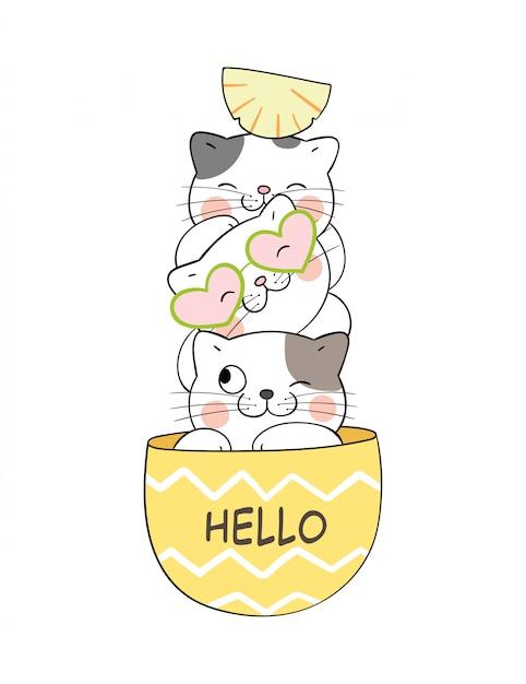 Disegna un simpatico gatto nell'ananas per l'estate. Vettore Premium