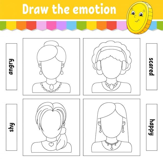 Disegna l'emozione. il foglio di lavoro completa la faccia. libro da colorare per bambini. Vettore Premium