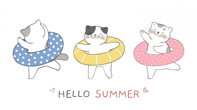 Disegna un gatto divertente con un anello di gomma colorato per l'estate. Vettore Premium