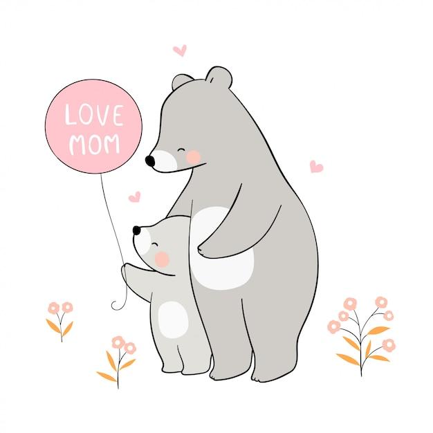 Disegna mamma orso e bambino per la festa della mamma. Vettore Premium
