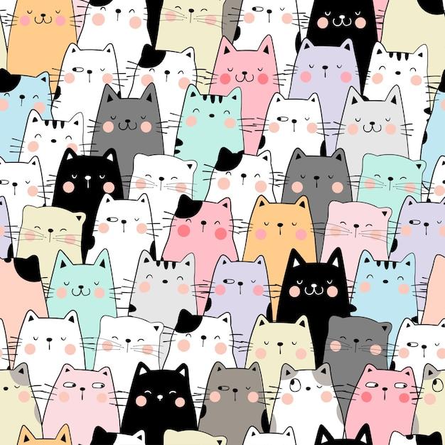 Disegna il colore pastello del gatto senza cuciture Vettore Premium