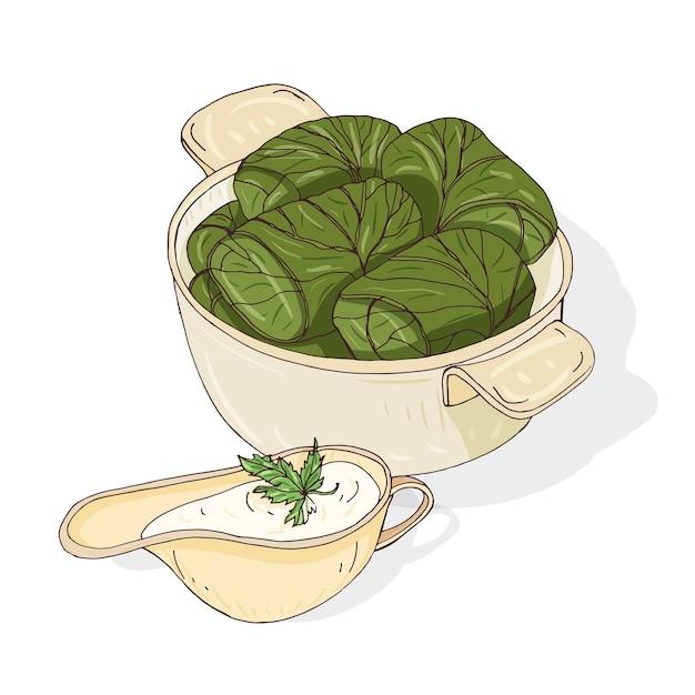 Disegno di dolma nella ciotola e salsa in salsiera. gustoso pasto georgiano a base di foglie di vite ripiene di carne macinata. alimento caucasico tradizionale Vettore Premium