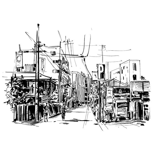 Disegno del paesaggio urbano del giappone a kyoto Vettore Premium