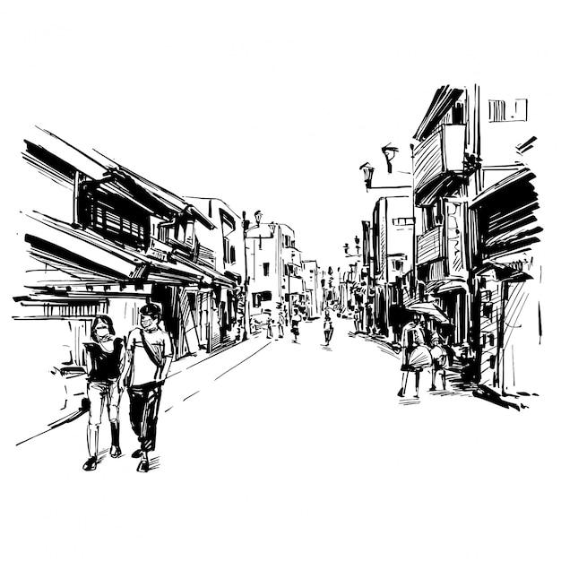 Il disegno del paesaggio urbano giapponese mostra lo stile della città vecchia a kyoto Vettore Premium