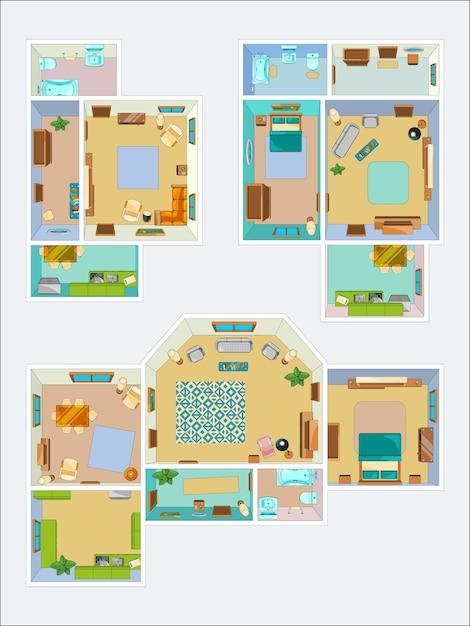 Disegni per la disposizione dell'appartamento. foto vista dall'alto di cucina, bagno e soggiorno. piano dell'illustrazione interna del condominio Vettore Premium