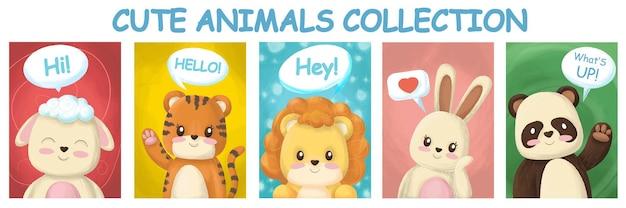 Animali disegnati con testo per adesivi Vettore Premium