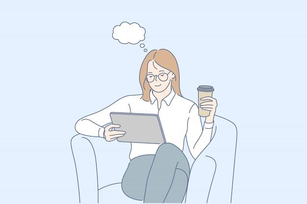 Sogno, pausa caffè, notizie, concetto di social media Vettore Premium