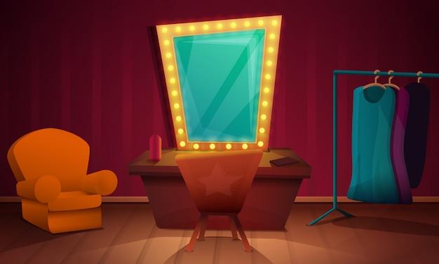 Artista dello spogliatoio con mobilia e uno specchio, illustrazione Vettore Premium