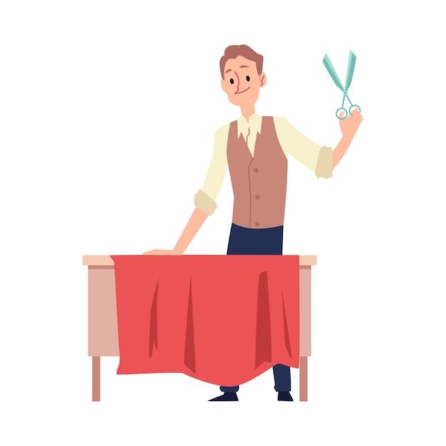 Personaggio dei cartoni animati uomo sarto o sarto taglia tessuto per abbigliamento illustrazione vettoriale isolato su sfondo bianco. cucitura di abiti firmati e sartoria individuale. Vettore Premium