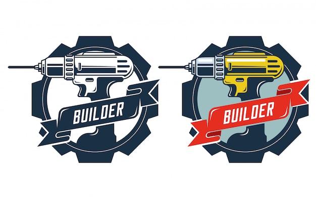 Drill badge con generatore di firme. Vettore Premium