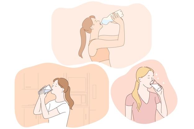 Bere acqua pura, liquido, concetto di salute. Vettore Premium