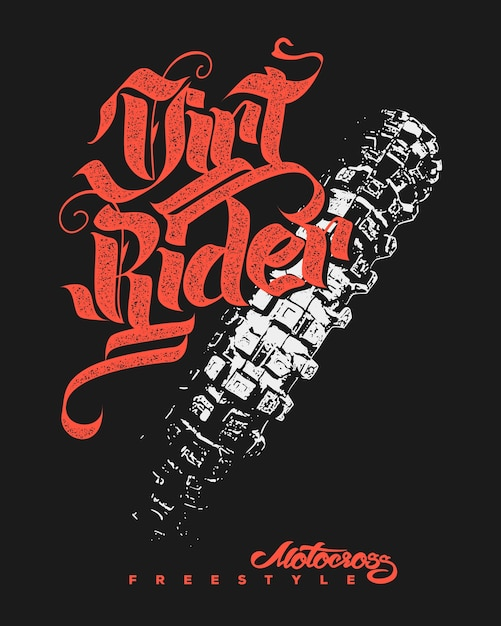 Drirt rider motocross design freestyle Vettore Premium