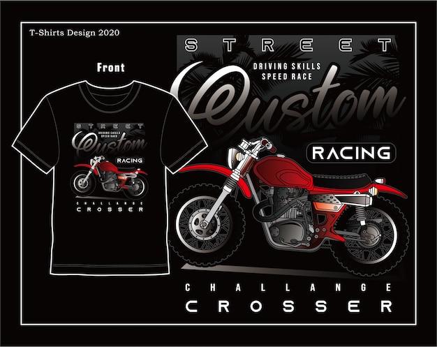 Velocità di abilità di guida, disegno dell'illustrazione di tipografia del motociclo di vettore Vettore Premium